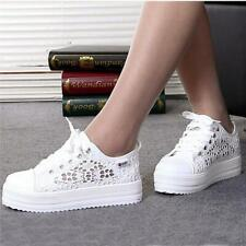 Chic Women Student Lace Round Toe Hollow Platform Wedge Shoe Casual Sneaker JJ