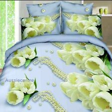 3D Bedding Quilt Doona Duvet Cover Bed Sheet Pillowcase Set Queen -Cream  Floral