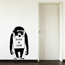 Banksy Style Monkey Keep It Real Living Room Vinyl Wall Art Sticker Decal