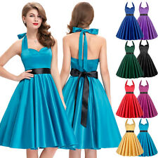 50'S 60S ROCK DRESS Vintage Style Swing Pinup Retro Housewife Halter Party Dress