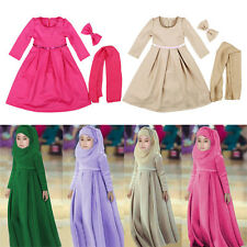 Girls Kids Kaftan Abaya Muslim Islamic Child Hijab Burquas Long Maxi Dress 3pcs
