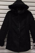 NEW Excelled Ladies' Hooded Faux Shearling Walking Coat Black S L