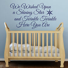 We Wished Upon a Shining Star Quote Nursery Children's Vinyl Wall Sticker Decal