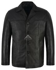 Men's 4010 Black Hip Length Real Nappa Leather Casual Leather Jacket Coat