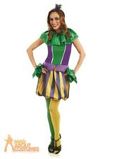 Adult Sexy Carnival Jester Costume Ladies Medieval Circus Fancy Dress Outfit New