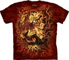 The Mountain Fire Tiger T-Shirt - 100% Cotton Short Sleeve Red
