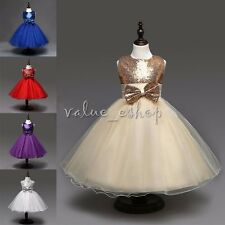 New Toddler Flower Girl Princess Wedding Bridesmaid Party Sequin Ball Gown Dress