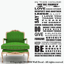 NEW New House Rule Wall Quote Decal