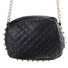 Womens Oval Quilted Faux Leather Crossbody Purse Bag w/ Gold Studs NEW NWT