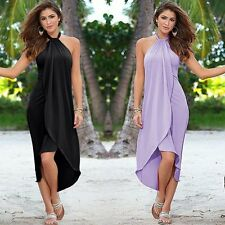Summer Women Long Maxi Dress Sleeveless Halter Evening Cocktail Dress S-XXL