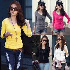 Women New Sexy V-Neck Long Sleeve slim Trend elegant Casual T-shirt Blouse Tops