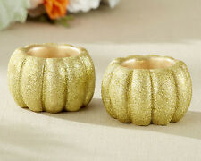 Gold Glitter Fall Autumn Pumpkin Tea Light Candle Holder Bridal Wedding Favor