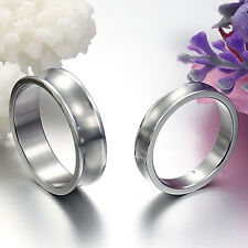 Free Engraving 2 PCS Stainless Steel Couple Ring Set Promise Wedding Rings Bands