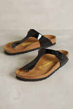 Anthropologie Birkenstock Gizeh Sandals EU 39, Patent Black, Made in Germany