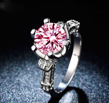 Fashion Pink sapphire 925 Silver Filled Wedding Engagement Bridal Ring SIZE 6-10