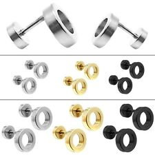 2 Stainless Steel Screw Fake Ear Plugs Stud Stretcher Ring Tunnel Women 0G/000G