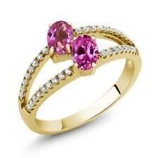 1.41 Ct Pink Mystic Topaz Created Sapphire 18K Yellow Gold Plated Silver Ring