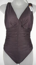 NWT Womens Miraclesuit Sonatina 1PC One Piece Swimsuit Chocolate Size 8-14