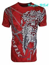 Konflic NWT Men's Fleur De Lis with Massive Chain Graphic MMA Muscle T-Shirt