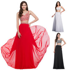 Sequins Two Piece Bridesmaid Formal Evening Party Long Maxi Dress Ball Prom Gown