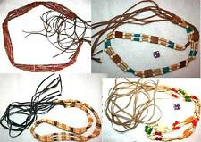 HANDMADE Peasant BOHO Hippie Gypsy Wooden Bead Leather Tie String Bamboo BELT