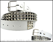 Unisex Men Women Metal Pyramid Studded White Leather Belt Punk Rock Goth Emo