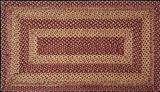 Exquisite Country Farmhouse Burgundy Red & Tan Jute Rectangle Braided Rug