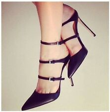 Chic Women High Heel Sandal Stilletto Patent Leather Slingback Pointed Toe Shoes