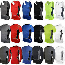 Mens Compression Tank Top Vest Thermal Gym Sport T-Shirts Body Armour Base Layer
