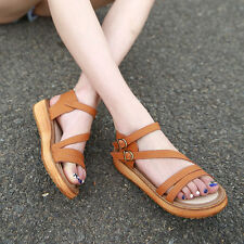 New Women Girl Flat Sandals Roman Platform Casual Shoes Strappy Buckle Size 4-12