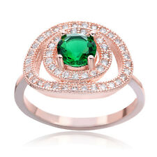 2016 wedding jewelry Round Cut Emerald Rose Gold Plated Silver Ring for Women