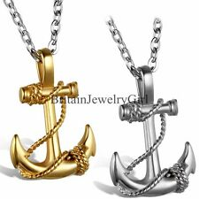 Fashion Stainless Steel Anchor Pendant Chain Necklace Men's Boys Gift  22 Inches