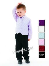 BoyÂ's Suit 4 Piece Black & Lilac Pageboy Formal Party Wedding (0-3mths-9yrs)