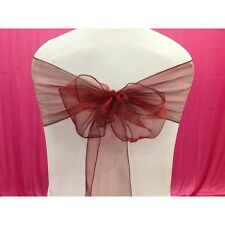Maroon Organza SASH BOW CHAIR COVER BOWS DECORATION FOR WEDDING PARTY