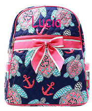 Personalized Quilted Nautical Sea Turtle Kids Boy Backpack MONOGRAM Embroidery