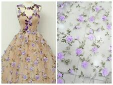 3D LASER CUT FLOWER PANIT ORGANZA TULLE LACE FABRIC DRESS GOWN  52'' WIDE 1 YARD