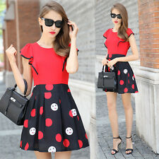 Summer Fashion Womens Occident Sweet Short Sleeve Polka Dot Princess Mini Dress