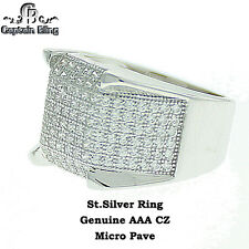 Micro pave Sterling Silver Genuine AAA CZ Stone Ring 700F22506