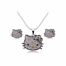 Hello Kitty Necklace Earrings & Ring Jewelry Set Silver Plated Girls Women Charm