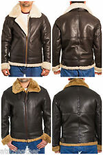 Mens Brown Aviator Real Sheepskin RAF Classic Pilot WW2 Flying Leather Jacket