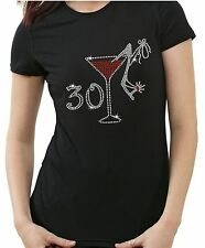 30TH BIRTHDAY~ FUN GIFT ~ GLASS AND SHOE ~ LADIES RHINESTONE DIAMANTE T SHIRT