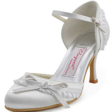 Women High Heel Pumps Ankle Strap Ruffled Bow Buckles Satin Wedding Bridal Shoes