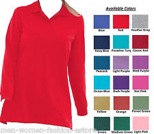 Women's Perfect Polo Tunic T-Shirt Top NEW with Long Sleeves Plus Big Size M-5XL