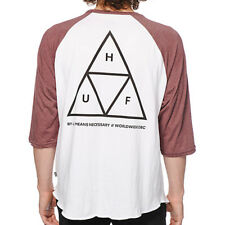 "HUF ""Triple Triangle"" Raglan T-Shirt (White/Wine) Men's Graphic 3/4 Baseball Tee"