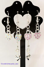 Heart Shaped Earrings - Pink or AB Coated Rhinestone, or Puffy Silver Plated