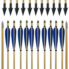 Handmade Blue Turkey Feather Archery Wooden Arrow Hunting Broadheads Arrow Head