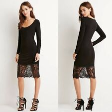 Chic Sexy Black Mini Lace Long Sleeve Round Collar Slim Casual Party Women Dress