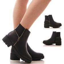 LADIES WOMENS ELASTIC BOOTS PLATFORM CHUNKY ANKLE BOOTS BLOCK HEEL SHOES SIZE