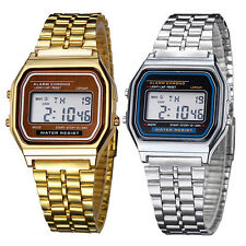 Men Women Unisex Stainless Steel LCD Digital Stopwatch Wrist Watch Eager Nobby