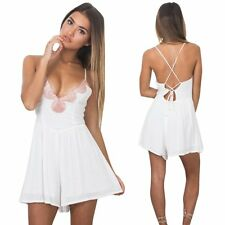 Summer Womens Sexy Lace Spaghetti Deep V Backless Romper Beach Club Party Dress